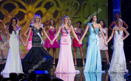 Stock Image of Taylor Clark, Alexis Swanstrom, Sydnee Stottlemyre, Audra Mari, Danielle Doty The five finalists of the Miss Teen USA 2011, from left, Miss Kansas Taylor Clark, Miss California Alexis Swanstrom, Miss Missouri Sydnee Stottlemyre, Miss North Dakota Audra Mari and Miss Texas Danielle Doty hold hands as they wait for the naming of Miss Teen USA 2011 during the beauty pageant in Nassau, Bahamas, . Doty was crowned Miss Teen USA 2011