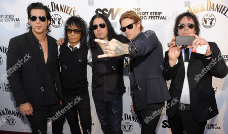 Keith Nelson, Stevie D., Xavier Muriel, Josh Todd, Jimmy Ashhurst From left, Keith Nelson, Stevie D., Xavier Muriel, Josh Todd and Jimmy Ashhurst of the band Buckcherry arrive for a tribute to the band Motley Crue to launch the 4th Annual Sunset Strip Music Festival in West Hollywood, Calif., . Motley Crue will headline the street festival on Saturday