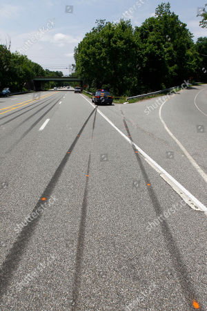 A police car sits near skid marks leading to the scene of an auto accident, in West Chester, Pa. West Goshen Township police say Jackass cast member Ryan Dunn and a passenger died after his car left the roadway and burst into flames