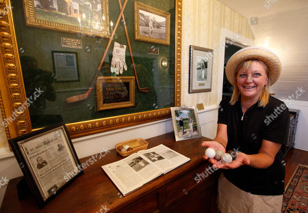 Jill Sharp In this photo, Jill Sharp displays some of the old PH Gutta Percha golf balls that were found at the Oakhurst Links golf course in White Sulphur Springs, W.Va