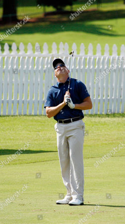 Stock Photo of Derek Lamely Derek Lamely reacts to his approach shot on the 18th green during the opening round of The Viking Classic PGA golf tournament, in Madison, Miss