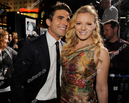 """Miles Fisher, Emma Bell Miles Fisher, left, and Emma Bell, cast members in """"Final Destination 5,"""" pose together at the premiere of the film in Los Angeles, . The film is released in theaters on August 12"""