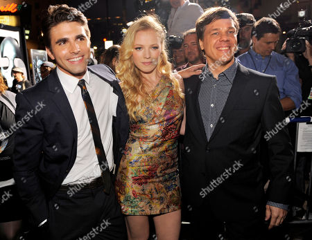 """Steven Quale, Emma Bell, Miles Fisher Steven Quale, right, director of """"Final Destination 5,"""" poses with cast members Miles Fisher, left, and Emma Bell at the premiere of the film in Los Angeles, . The film opens in theaters on August 12"""