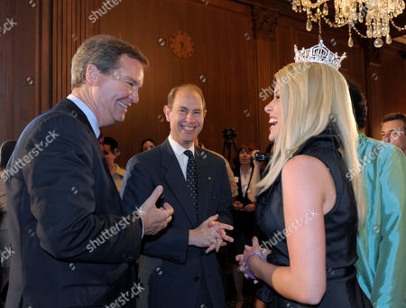 Prince Edward, Teresa Scanlan,Sam Haskell Prince Edward, center, shares a laugh with Sam Haskell, left, and Miss America 2011 Teresa Scanlan, right, during a reception on Capitol Hill in Washington