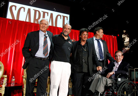 """Robert Loggia, F. Murray Abraham, Al Pacino, Steven Bauer, Martin Bregman From left, Robert Loggia, F. Murray Abraham, Al Pacino, Steven Bauer, and Martin Bregman pose together onstage during the """"Scarface"""" Legacy Celebration Event in Los Angeles, . """"Scarface"""" will be released on Blu-ray Sept. 6, 2011"""