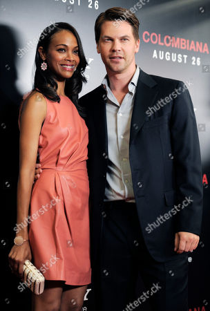 "Zoe Saldana, Keith Britton Zoe Saldana, left, star of the film ""Colombiana,"" and her fiance Keith Britton pose together at a special screening of the film, in West Hollywood, Calif. The film will be released in theaters on Friday"