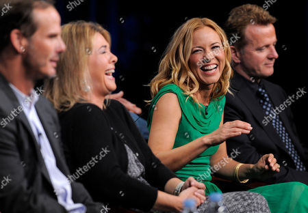 """Maria Bello, Aidan Quinn, Peter Berg, Alexandra Cunningham Maria Bello, second from right, star of the television series """"Prime Suspect,"""" shares a laugh with executive producer and director Peter Berg, far left, and executive producer and writer, Alexandra Cunningham, during a panel discussion on the show at the NBC Universal summer press tour, in Beverly Hills, Calif. Also pictured is cast member Aidan Quinn, far right"""