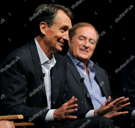 "Chris Collinsworth, Al Michaels Chris Collinsworth, left, game analyst for ""Sunday Night Football,"" takes part in a panel discussion with play-by-play commentator Al Michaels at the NBC Universal summer press tour, in Beverly Hills, Calif"