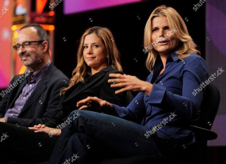 """Mariel Hemingway, Mira Sorvino, Robert Weide Actress Mariel Hemingway, right, actress Mira Sorvino, center, and filmmaker Robert Weide take part in a panel discussion on the """"American Masters"""" program """"Seriously Funny - The Comic Art of Woody Allen"""" during the PBS Television Critics Association summer press tour, in Beverly Hills, Calif"""