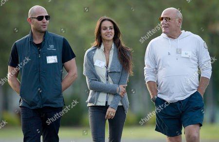Stock Image of Alex von Furstenberg, Kay Ali, Barry Diller From left, Alex von Furstenberg, Ali Kay and Barry Diller walk together to the Sun Valley Inn for the 2011 Allen and Co. Sun Valley Conference, in Sun Valley, Idaho