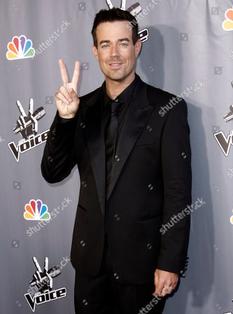 "Carson Daly Host Carson Daly poses for photographers after finale of ""The Voice"" in Burbank, Calif., . Javier Colon was named the winner of the show during the finale"