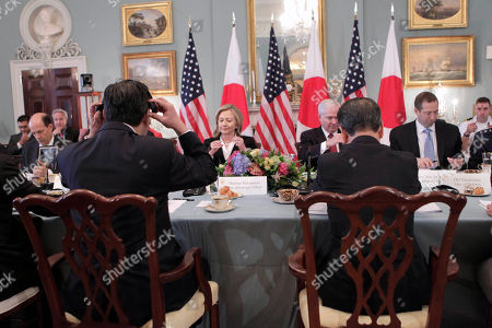"Takeaki Matsumoto, Toshimi Kitazawa, Hillary Rodham Clinton, Robert Gates From left to right, Japanese Foreign Minister Takeaki Matsumoto, Secretary of State Hillary Rodham Clinton, Defense Secretary Robert Gates, and Japan's Defense Minister Toshimi Kitazawa, begin the ""2 plus 2"" talks at the State Department in Washington, . Formally known as the United States-Japan Security Consultative Committee meeting, the alliance works to ensure the security of Japan and maintain peace and stability in the Asia-Pacific region"