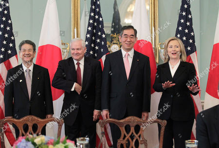 "Takeaki Matsumoto, Toshimi Kitazawa, Hillary Rodham Clinton, Robert Gates From left to right, Japan's Defense Minister Toshimi Kitazawa, Defense Secretary Robert Gates, Japanese Foreign Minister Takeaki Matsumoto, and Secretary of State Hillary Rodham Clinton arrive for the ""2 plus 2"" talks at the State Department in Washington, . Formally known as the United States-Japan Security Consultative Committee meeting, the alliance works to ensure the security of Japan and maintain peace and stability in the Asia-Pacific region"