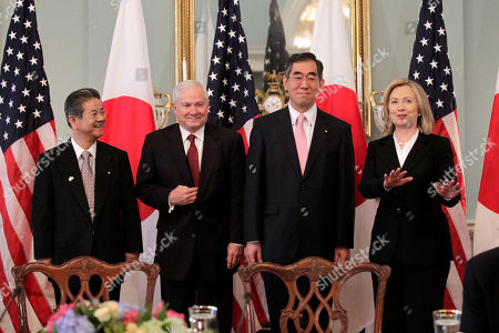 "Takeaki Matsumoto, Toshimi Kitazawa, Hillary Rodham Clinton, Robert Gates From left, Japan's Defense Minister Toshimi Kitazawa, Defense Secretary Robert Gates, Japanese Foreign Minister Takeaki Matsumoto, and Secretary of State Hillary Rodham Clinton arrive for the ""2 plus 2"" talks at the State Department in Washington, . Formally known as the United States-Japan Security Consultative Committee meeting, the alliance works to ensure the security of Japan and maintain peace and stability in the Asia-Pacific region"