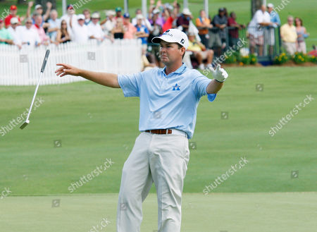 Hunter Haas Hunter Haas tosses his club and begins a dance of joy after sinking an eagle putt on the 18th hole during the final round of the Viking Classic PGA golf tournament, in Madison, Miss. The putt placed him in a tie for fourth
