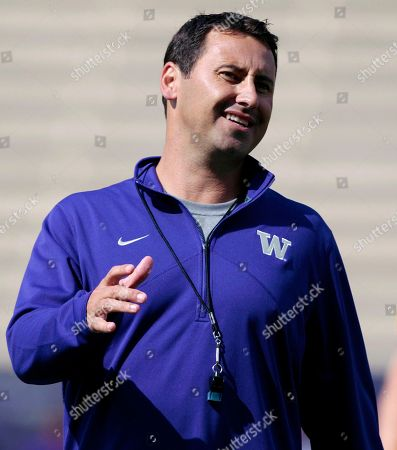 Stock Picture of Steve Sarkisian, Thomas Vincent Washington coach Steve Sarkisian directs his players at the team's NCAA college football practice, in Seattle. Sarkisian speaks to the media, for the first time since a rash of changes to his coaching staff