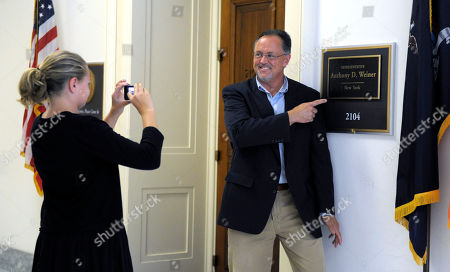 Bryan Lewis, Sayde Lewis By his daughter Sayde Lewis, 11, outside the office of Rep. Anthony Weiner, D-N.Y., on Capitol Hill in Washington, . Weiner's last day in Congress will be Tuesday, he has told House and New York State officials
