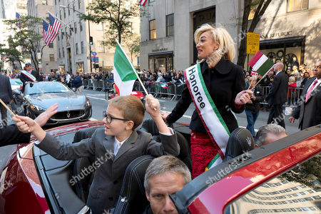 Federica Marchionni Federica Marchionni, right, rides in a convertible in the Columbus Day Parade, in New York