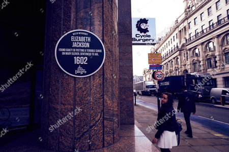 Editorial picture of The London Dungeon unveil a series of Dark Plaques at locations in London associated with witches, UK - 13 Oct 2016