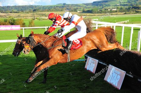 Punchestown TIGER SAM & Noel McParlan (near side) jump the last to win the Ingoldsby Handicap Steeplechase from MOSS GROVE & Richard Harding (far side).