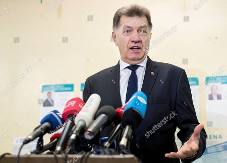 Algirdas Butkevicius Lithuania's Social Democrat party leader and prime minister Algirdas Butkevicius speaks to the media at a polling station during parliamentary elections in Vilnius, Lithuania, . Lithuanians are voting in the first round of a parliamentary election, with the governing Social Democrats facing challenges from conservatives and an agrarian party