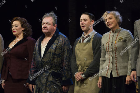 Harriet Thorpe (Her Ladyship), Ken Stott (Sir), Reece Shearsmith (Norman) and Selina Cadell (Madge) during the curtain call