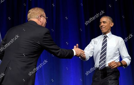 Barack Obama, Ted Strickland President Barack Obama, right, goes to shake hands with former Ohio Gov. Ted Strickland, left, as he arrives to speak at a campaign event for the Ohio Democratic Party and Strickland's Senate bid at the Greater Columbus Convention Center in Columbus, Ohio