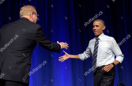 Barack Obama, Ted Strickland President Barack Obama, right, shakes hands with former Ohio Gov. Ted Strickland, left, as he arrives to speak at a campaign event for the Ohio Democratic Party and Strickland's Senate bid at the Greater Columbus Convention Center in Columbus, Ohio