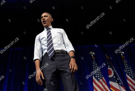 Barack Obama President Barack Obama finishes his remarks at a campaign event for the Ohio Democratic Party and for the Senate bid for former Ohio Gov. Ted Strickland at the Greater Columbus Convention Center in Columbus, Ohio