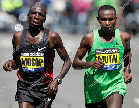 Moses Mosop, Geoffrey Mutai Moses Mosop, left, and Geoffrey Mutai, right, both of Kenya, run close together with less than a mile to go before the finish of the Boston Marathon, in Boston, Mutai went on to win the race