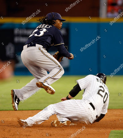 Logan Morrison, Rickie Weeks Florida Marlins' Logan Morrison (20) is forced out at second base on a ground ball hit by Gaby Sanchez as Milwaukee Brewers second baseman Rickie Weeks (23) throws to first base to complete the double play in the third inning of a baseball game, in Miami