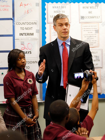 Arne Duncan Student Faith Brown, left, listens as U.S. Department of Education Secretary Arne Duncan speaks to students during tour the Charles A. Tindley Accelerated School in Indianapolis, . He and Indiana Mitch Daniels held a town hall style discussion with students following the tour