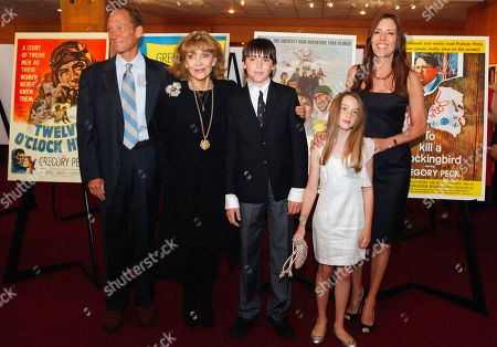 Anthony Peck, Veronique Peck, Carey Peck, Cecila Peck, Casey Peck The family of actor Gregory Peck arrives for a U.S. Postal Service first-day-of-issue dedication ceremony for the Gregory Peck forever stamp at the Academy of Motion Picture Arts and Sciences in Beverly Hills, Calif., . From left: Anthony Peck, son, Veronique Peck, widow of Peck, and Cecilia Peck, daughter of Peck with children: Cecilia and son Carey
