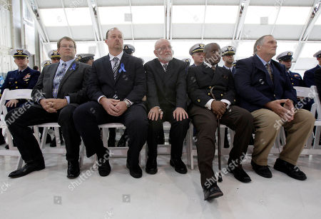 Norman Logson, Gary LeBlanc, Paul Ericson, Jeffrey Malcolm, Billy Marsh Offshore supply vessel Damon B. Bankston crew members Norman Logson, from left, Gary LeBlanc, Paul Ericson, Jeffrey Malcolm and Billy Marsh listen to a ceremony honoring members of the vessel and Coast Guard helicopter crews who helped rescue 115 survivors of last year's Deepwater Horizon explosion at Coast Guard Air Station New Orleans in Belle Chasse, La