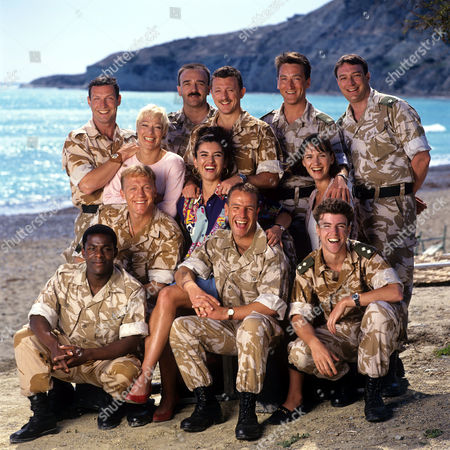 'Soldier Soldier' - 1994 Back row (L-R) Rob Spendlove, John Bowe, Gary Love, Dorian Healy, John McGlynn. Middle row (L-R) Denise Welch, Rosie Rowell, Lesley Vickerage. Front row (L-R) Patterson Joseph, Jerome Flynn, Robson Green and Ben Nealon.