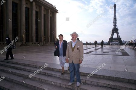 Stock Photo of Pat Heywood and George Cole in Paris, filming 'Root into Europe' - 1992