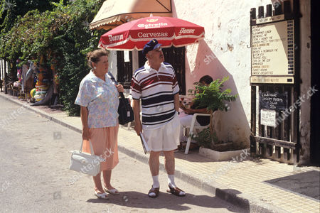 Stock Image of Pat Heywood and George Cole in 'Root into Europe' - 1992