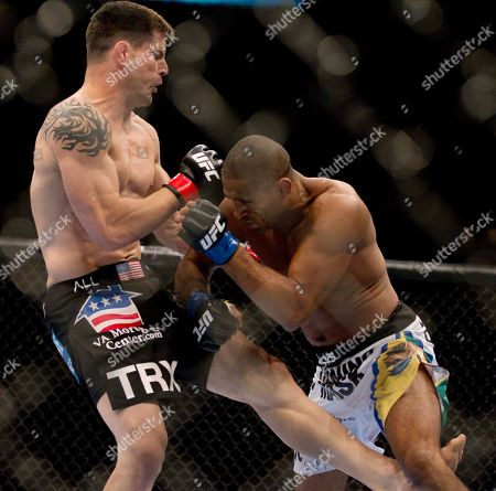 Jorge Santiago, Brian Stann Brian Stann, left, and Jorge Santiago during a mixed martial arts middleweight bout at UFC 130, in Las Vegas