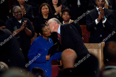 Ken Salazar, Christine King Farris Secretary of the Interior Ken Salazar, right, gives a kiss to Christine King Farris, left, the sister of Dr. Martin Luther King Jr., during a ceremony to mark the restoration of the sanctuary of the historic Ebenezer Baptist Church where Dr. King preached in Atlanta