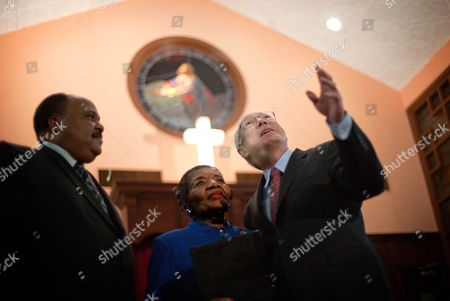 Ken Salazar, Martin Luther King III, Christine King Farris Secretary of the Interior Ken Salazar, right, looks on with Christine King Farris, center, and Martin Luther King III, the sister and son of Dr. Martin Luther King Jr., before a ceremony to mark the restoration of the sanctuary of the historic Ebenezer Baptist Church where Dr. King preached in Atlanta