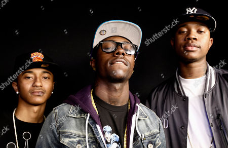 """Jay Are, Yung, C Smoove Jay Are, left, Yung, center, and C Smoove from the music group Cali Swag District pose for a portrait in Los Angeles, . One of the members of the group, Montae Talbert, also known as """"M-Bone"""", was shot and killed on May 15, 2011"""