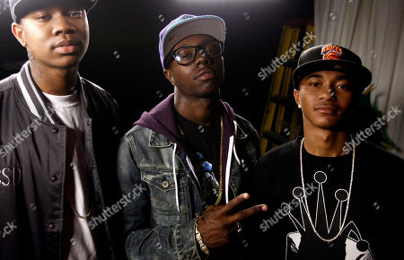 """Jay Are, Yung, C Smoove Jay Are, right, Yung, center, and C Smoove from the music group Cali Swag District pose for a portrait in Los Angeles, . One of the members of the group, Montae Talbert, also known as """"M-Bone"""", was shot and killed on May 15, 2011"""