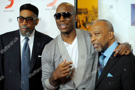 Tyrese, Kenneth Gamble, Leon Huff Singer Tyrese, center, poses with honorees Kenneth Gamble, left, and Leon Huff before the National Association of Recording Merchandisers Convention Awards Dinner, in Los Angeles