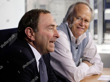 Gary Bettman, Dick Ebersol NHL commissioner Gary Bettman, left, and NBC Sports Group Chairman Dick Ebersol address a news conference at the offices of the National Hockey League, in New York, . The NHL is staying on NBC and Versus for the next 10 years with a deal Commissioner Gary Bettman calls the most significant in league history