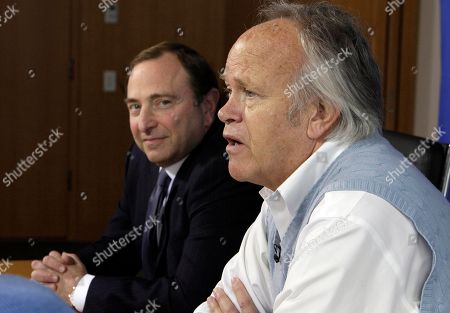 Gary Bettman, Dick Ebersol NHL commissioner Gary Bettman, left, and NBC Sports Group Chairman Dick Ebersol address a news conference at the offices of the National Hockey League, in New York, . The NHL is staying on NBC and Versus for the next 10 years with a deal Bettman calls the most significant in league history