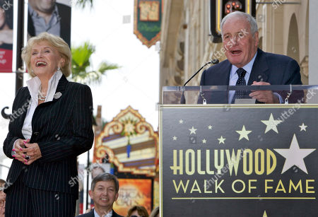 """Stock Image of Jane Morgan, Jerry Weintraub American film producer Jerry Weintraub, right, praises his wife, singer Jane Morgan, left, as she is honored with a star on the Hollywood Walk of Fame in Los Angeles Friday, May, 6, 2011. Morgan had six gold records and was a frequent guest on """"The Ed Sullivan Show"""