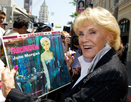 """Jane Morgan Singer Jane Morgan signs a """"Fascination"""" record album, after being honored with a star on the Hollywood Walk of Fame in Los Angeles Friday, May, 6, 2011. Morgan had six gold records and was a frequent guest on """"The Ed Sullivan Show"""