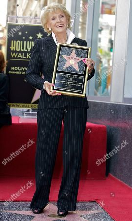 """Jane Morgan Singer Jane Morgan poses as she is honored with a star on the Hollywood Walk of Fame in Los Angeles Friday, May, 6, 2011. Morgan had six gold records and was a frequent guest on """"The Ed Sullivan Show"""