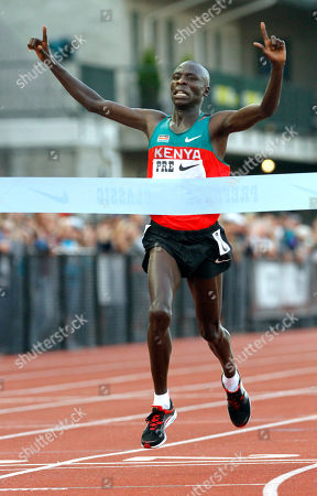 Moses Mosop Moses Mosop, from Kenya, hits the finish line in the 30,000 meters race during the Prefontaine Classic track and field meet in Eugene, Ore., Friday, June, 3, 2011. Mosop broke the world record with a time of one hour, 26 minutes and 47.4 seconds
