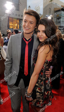 """Nolan Sotillo, Danielle Campbell Nolan Sotillo, left, and Danielle Campbell, cast members in """"Prom,"""" pose together at the premiere of the film, in Los Angeles"""